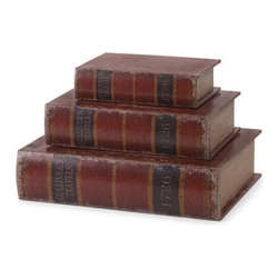 "IMAX - Gulliver's Book Boxes - Set of 3 - This set of three book boxes discreetly stores small items in sophisticated Gulliver's Travels imitation books. Item Dimensions: (13""h x 10""w x 3.25"")"