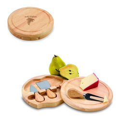 """Picnic Time - Atlanta Falcons Brie Cheese Board Set in Natural Wood - The Brie cheese board set is the perfect sized accessory for a small party or get-together. The board is a 7.5"""" swivel-style, split level circular cutting board made or eco-friendly rubberwood that swings open to reveal the cheese tools housed under the board. The three stainless steel cheese tools have rubberwood handles. Tools included are a hard cheese knife, a chisel knife (hard crumbly cheese), and a cheese fork. A carved moat surrounds the perimeter of the board which helps to prevent brine or juice run-off. The Brie makes a delightful gift.; Decoration: Engraved; Includes: 3 Stainless steel cheese utensils (1 hard cheese knife, a chisel knife (hard crumbly cheese), and cheese fork) with wooden handles"""