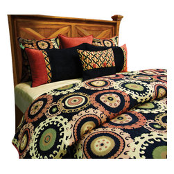 Suzani Duvet Set, Ultra King - A clean, playful, contemporary pattern of Red, Black, Green and Tan. Pillows and duvet cover are made completely reversible to make this bed set unique.