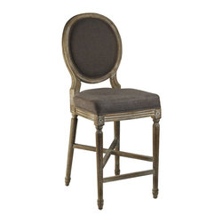 Kathy Kuo Home - Medallion Oak French Country Counter Stool in Aubergine Brown Linen - Inspired by antique Louis XVI style chairs, this Medallion counter stool in a limed grey oak with brown aubergine linen upholstery looks dramatic yet elegant at a kitchen counter. Decorative accents include delicate carvings, fluted legs, cross stretcher and foot rest.