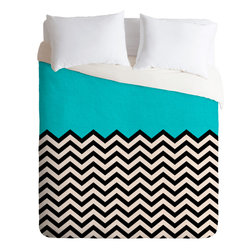 DENY Designs - DENY Designs Bianca Green Follow the Sky Duvet Cover - Solids & Colors. Forty winks look fabulous with the Bianca Green Follow the Sky Duvet Cover from DENY Designs. Hip chevron meets solid teal on this artist-designed piece, custom-created using a six-color printing technique that directly dyes the buttery-soft woven front. A cozy cotton-blend on the backside was created for cuddling. Pillowcases not includedAvailable in multiple sizesZip closureInterior corner tiesCustom printed for every orderWoven polyester front / cotton-polyester backMachine washableDesigned by Bianca GreenMade in the USAShips in 1 week