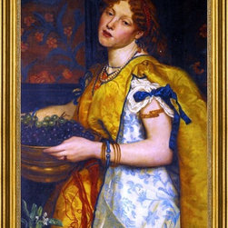 """Valentine Cameron Prinsep-16""""x24"""" Framed Canvas - 16"""" x 24"""" Valentine Cameron Prinsep A Girl Carrying Grapes framed premium canvas print reproduced to meet museum quality standards. Our museum quality canvas prints are produced using high-precision print technology for a more accurate reproduction printed on high quality canvas with fade-resistant, archival inks. Our progressive business model allows us to offer works of art to you at the best wholesale pricing, significantly less than art gallery prices, affordable to all. This artwork is hand stretched onto wooden stretcher bars, then mounted into our 3"""" wide gold finish frame with black panel by one of our expert framers. Our framed canvas print comes with hardware, ready to hang on your wall.  We present a comprehensive collection of exceptional canvas art reproductions by Valentine Cameron Prinsep."""