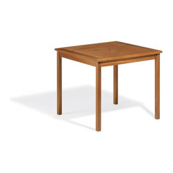Oxford Garden - Capri 34 Inch Table - The Capri 34-inch table with its classic clean design makes a very functional and attractive 2 - 4 seat table. This table is easily paired with our Capri Folding Chairs to make a great casual dining or activity table. Made of long weathering acacia wood and stained brown umber.