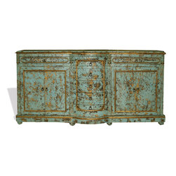 Koenig Collection - Old World Traditional King Lima Sideboard, Turquoise Distressed - Old World Traditional King Lima Sideboard