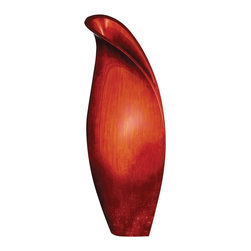 Howard Elliott - Large Scarlet Lily Vase - This large wooden vase is characterized by its resemblance to a budding lily flower. It is finished in a bright brushed red lacquer.