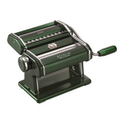 Green Marcato Atlas 150 Pasta Maker - This machine includes a warm forest green pasta roller (adjustable for 10 thicknesses), a matching green dual pasta cutter for creating both fettuccine and tagliolini, a green removable hand crank, and a work surface clamp to secure the machine while in use. The cutter is easily removed from the pasta roller and optional chrome accessories are available including 10 different pasta cutters, 2 different ravioli makers, and an electric motor drive for even greater convenience.