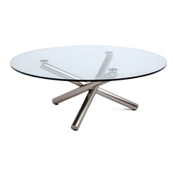 """White Line Imports - Lux Coffee Table with Round Glass Top - Like a warm and charming bonfire, the base of the Lux coffee table consists of 3 crossed legs in brushed nickel finish. The 1/2"""" top is made of clear tempered glass."""