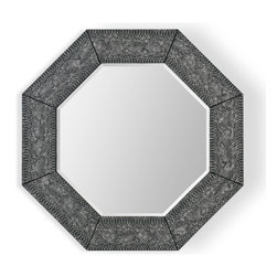Bassett Mirror - Bassett Mirror Cobra Wall Mirror - An octagon shape and bold print combine in the Cobra Wall Mirror. Featuring beveled glass set inside a black snakeskin pattern frame, this mirror works well with both neutral and bold color schemes. Hang it in a bathroom or entryway for a striking look.