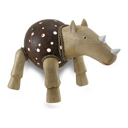 Zeckos - Recycled Coconut Shell and Wood Rhinoceros Night Light Accent Lamp - This hand-crafted rhino lamp provides a wonderful accent to your home whether in the bedroom, living room or entryway and is a unique highlight on a sheltered porch perfect to add a fun touch of light! The body is made from a recycled coconut shell with dozens of drilled holes that allow the light to shine through, with wood and rope accents that create this whimsical rhinoceros. This 7 inch high, 10 inch long, 7 inch wide accent lamp uses one 7 watt night light style bulb (not included), and easily turns on or off via the switch on the 67 inch long cord. It makes a great gift for rhino collectors.