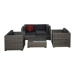 International Home Miami - Atlantic Metz 5-Piece Grey Wicker Seating Set with Grey Cushions - Great quality, stylish design patio sets, made of aluminum and synthetic wicker. Polyester cushion with water repellant treatment. Enjoy your patio with elegance all year round with the wonderful Atlantic outdoor collection.