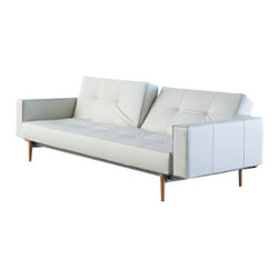 """Innovation USA - """"Innovation USA"""" Splitback White Leather Sofa Bed with Light Wood Legs - """"Innovation USA"""" Splitback White Leather Sofa Bed with Light Wood Legs help renovate the interior of your room. Luxury white leather go perfectly with light wood legs, and creates a unique style.    Features:"""