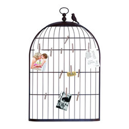 "Benzara - Unique Photo Holder As a Charming Bird Cage - A photo frame with a beautiful design that belongs in any room of the home. This frame is made with aged wood throughout the unique box shape. This photo holder is uniquely designed to resemble a charming bird cage. Each wire of the cage is a new spot to hang snapshots, receipts and reminders in the most attractive way possible.; Made of metal; Size: 22""x2 1/2""x35"""