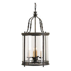 Currey and Company - Grayson Lantern - An attractively detailed wrought iron design forms the pinnacle of this four light lantern while decorative metal bands surround the top and bottom of the vintage glass panels. The finish is French Black. This lantern is part of the Lillian August Collection for Currey & Company.
