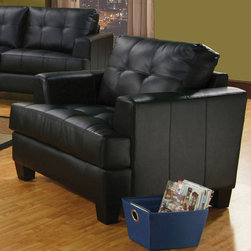 Coaster - Samuel Collection Black Transitional Chair - The Samuel Collection offers style and comfort with its clean lines and attached seat cushions. The only way to truly appreciate this collection is to sit and experience it.