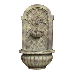 Venetian Outdoor Wall Fountain, Florentine Stone
