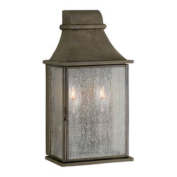World Imports - World Imports Dark Sky Revere Collection 2-Light Outdoor Wall Lantern - Add class to the appearance of your home with this stunning Flemish outdoor wall lantern. It's water seedy glass provides a unique effect when lit.