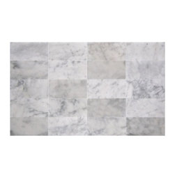 Premier Worldwide - Arabescato Carrara 3X6 Marble Mosaic Polished (8 Piece/Sft) - Arabescato Carrara 3X6 Honed Tile (Individual Pcs) is mostly white with light gray veins. It is recommended for floors, countertops and walls.  Also known as Grecian White, Chinese