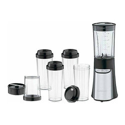 Cuisinart - SmartPower Blending/Chopping System - This streamlined blender makes smoothies in a flash, minces herbs and creates custom drinks in no time. Its petite size doesn't compromise on power thanks to a 350-watt motor, while easy, single-hand operation makes it completely user-friendly. Each of the included vessels is shatter-resistant and BPA-free for a smart, health-conscious way to prep food. The four included travel cups make it extra easy to take creations on the go.   Includes blender, blender jar, chopping cup and four travel cups 10.9'' W x 13.8'' H x 10.25'' D 350 W Stainless steel / metal BPA-free Blender: hand wash Vessels: dishwasher-safe 3-year limited warranty Imported