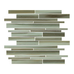 "Rocky Point Tile - Utaupia Linear Hand Painted Glass Tiles, 4"" X 6"" Sample - Introducing our new Utaupia linear glass mosaic tiles. A hand painted mix of wispy brush strokes that include hints of dark and light taupe, ocher, beige, and brown. This tile also has a subtle cool blue effect over the lighter colors that ads an extra element to the mix. Utaupia is also available in a small subway mosaic tile and 1x1 mosaic for more choices!"