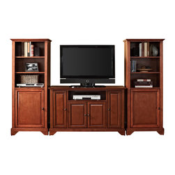 """Crosley - LaFayette 48"""" TV Stand and Two 60"""" Audio Piers in Classic Cherry Finish - Our 48"""" TV stand and audio pier combination offers a unique solution for both display and storage. Extremely versatile, this combo features adjustable shelves allowing you to effortlessly organize by design. Two audio piers save space yet provide abundant storage options, while the TV stand offers a cord management system that tames the unsightly mess of tangled wires."""
