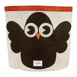 3 Sprouts - 3 Sprouts Storage Bin, Owl - Help your kids clean up their acts with our cute owl pattern animal storage bins in brown from 3 Sprouts . This bin is well sized for storing toys or as a laundry hamper. The bin collapses for easy storage when not in use. It is made up of 100% cotton canvas and coated on the inside for easy cleaning. It is the perfect gift for babies and toddlers.