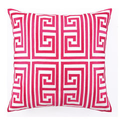 Greek Key Embroidered Pillow in Magenta by Trina Turk - You can't go wrong with the classic Greek key pattern! This timeless print has been updated with a modern twist by fashion designer extraordinaire, Trina Turk. The contrast of bold fuchsia against a white linen makes the perfect accent to brighten up a sofa or accent chair.