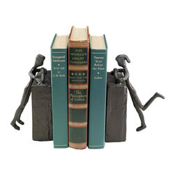 EttansPalace - Classic Couple Cast Iron Statues Bookend - Gift Item - Peeking over their tower of books, this paired boy and girl lean into each Ther in this charmingly flirtatious, two-piece sculpture that's beautiful alone or set on each side of your favorite volumes. Our contemporary iron statue is handcrafted using the ancient sand cast method, our iron sculpture is by artist Hollow. Each approx.