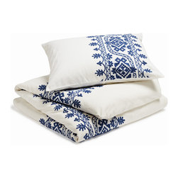 "Coyuchi - Aari Embroidered Duvet Cover, White With Royal Blue, Full/Queen - Lavish hand-guided embroidery frames the bed in texture and color. The intricate pattern of leafy, blooming vines is set against pure white cotton for a look that's festive and fresh. Designed with an 8""interior flap and inside ties. Hidden coconut shell buttons."