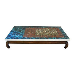 Pre-owned French Asian Inspired Mid Century Coffee Table - This piece is stunning and truly unique. French Provincial in the legs, low to the ground in a way that feels very Asian and featuring a mosaic tile top that is Mid Century Modern through and through! The table is in fantastic condition. A couple of the tiles are slightly loose, but none are missing or broken.