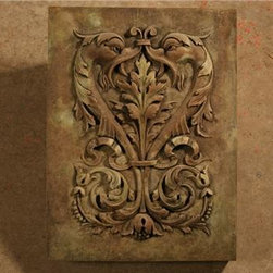 Yorkshire Dolphins Outdoor Sculpture - This gorgeous concrete wall plaque showcases an intricate design with symbolic Yorkshire Dolphins weaved in. Created by a team of artisans at MUD Statuary, it can add a dramatic accent to the design of your home. The plaque is formed and cast from concrete. The unique weather-proof patina of this plaque is created to withstand the exposure to the outside elements.