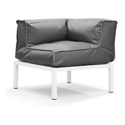 Zuo Modern - Copacabana Corner Light Gray - The Copacabana collection is designed for funky versatility. This set has modular pieces of an armless chair, a corner armchair, an ottoman, and a table. The cover is made from a completely waterproof and UV resistant polyester fiber. The frame is made from an epoxy coated aluminum. The fill is 100% pure polystyrene beads. All the cushions can be attached via durable oversize zipper. Have fun with the cushions and throw them in the pool...they will float!
