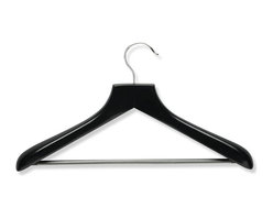 Honey Can Do - Curved Wood Suit Hanger- Ebony- 2 Pk - Contoured wood, locking bar. 18 in. x 1.75 in.