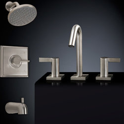 Flair Tub & Shower Set #2 - with Widespread Sink Faucet - The modern style of the Flair Bathroom Faucet Set will complement a variety of bathrooms with sleek lines and simple design. The widespread faucet provides your sink with modern accents while the tub and shower set offer a rainfall like shower experience with easy control of water flow and temperature through a single lever handle.