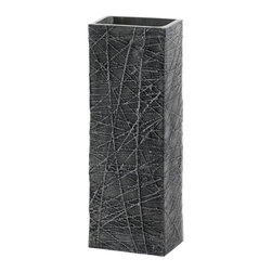 Malibu Creations - Malibu Creations Variegate Silver Square Vase - The star of this show is the fascinating texture that crisses and crosses the surface of this geometric vase, making it a modern marvel that will dress up your living space with chic style. The gunmetal gray hue deepens in the recesses of this rectangular vase's intriguing and elegant pattern, which is well deserving of the attention it will garner when you use it to create a dramatic centerpiece for your contemporary table or to modernize your mantel.