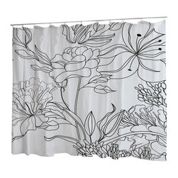Uneekee - Uneekee Black/White Florals Shower Curtain - Your shower will start singing to you and thanking you for such a glorious burst of design as you start your day!  Full printing on the front and white on the back.  Buttonhole openings for shower rings.