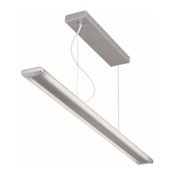 Lite Source - Lite Source Fabian Double Tube Contemporary Ceiling Hanging Light XSL-VLIS09691 - From the Fabian Collection, this Lite Source ceiling light features a rectangular frame and a smaller rectangular canopy, both finished in an updated Silver hue. The frame features a frosted acrylic panel that allows for even lighting that is ideal for kitchens, billiards tables and more.