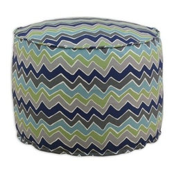 Chooty & Co. See Saw Round Corded Beads Hassock - Felix Blue / Natural - The Chooty & Co. See Saw Round Corded Beads Hassock - Felix Blue/Natural features a striking zig-zag pattern in bold blue and green, with accents of gray to tie the color scheme together. Its plump, round frame is filled with EPS styrofoam beads for lightweight and durable comfort. Use it as a cushion, as an ottoman, or as extra seating in a pinch, but not matter what you use it for, you'll be glad you've got one. About Chooty & Co.A lifelong dream of running a textile manufacturing business came to life in 2009 for Connie Garrett of Chooty & Co. This achievement was kicked off in September of '09 with the purchase of Blanket Barons, well known for their imported soft as mink baby blankets and equally alluring adult coverlets. Chooty's busy manufacturing facility, located in Council Bluffs, Iowa, utilizes a talented team to offer the blankets in many new fashion-forward patterns and solids. They've also added hundreds of Made in the USA textile products, including accent pillows, table linens, shower curtains, duvet sets, window curtains, and pet beds. Chooty & Co. operates on one simple principle: What is best for our customer is also best for our company.