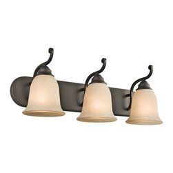 Kichler Lighting - Kichler Lighting Camerena Traditional Bathroom / Vanity Light X-ZO32454 - With its gorgeous bowl-shaped glass uplight and gently curled metal accents, the distinct Camerena&trade: collection illuminates any room with enduring warmth and comfort. This 3 light wall fixture features a Brushed Nickel finish and White Scavo glass to convey a polished poise in any space. May be installed with glass up or down.