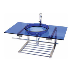 Renovators Supply - Console Sinks Glass/Stainless Console Sink Vanity Blue Wall Mount - Vessel Sink Vanity: the Blue Nouvelle Lune wall mount tempered glass vessel sink package comes complete with faucet, drain, and p-trap. See site for detailed product measurements and information.