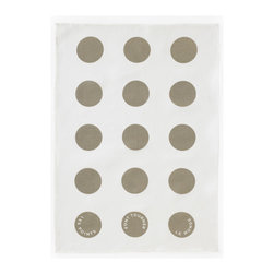 "Bambeco French Dot Linen Tea Towel in Slate - Hand-printed with water-based inks on natural linen in the USA, the French Dot Linen Tea Towel in Slate is the perfect kitchen accomplice. Classic polka dots bring energy and style to your kitchen; along the bottom, the towels are printed with ""Les points font tourner le monde"" – Dots make the world go round. The 100% linen fabric is sturdy, absorbent and becomes softer with each use. Use these towels to dry the dishes, cushion a bowl, protect your hands, wrap a gift or set a table. They're a natural, reusable and responsible alternative to paper.Linen may be one of the oldest textiles in the world, dating back to approximately 8,000BC; it is the strongest of the vegetable fibers, smooth and lint free. Linen is highly absorbent and easily dyed; the color will not fade with washings. Dimensions: 18W x 26HCare: Machine wash in cold or warm water with mild detergent. Tumble dry or line dry."