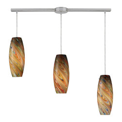Elk Lighting - Vortex Linear 3-Light Rainbow Pendant in Satin Nickel - Individuality is what defines this exquisite line of hand blown glass. Each piece is meticulously hand blown with up to three layers of uncompromising beauty and style.