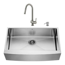 """VIGO Industries - VIGO All in One 36-inch Farmhouse Stainless Steel Kitchen Sink and Faucet Set - Enhance the look of your kitchen with a VIGO All in One Kitchen Set featuring a 36"""" Farmhouse - Apron Front kitchen sink, faucet, soap dispenser, matching bottom grid and sink strainer."""
