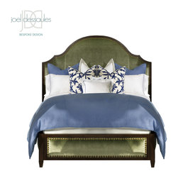 Versailles Bed - Curvaceous, elegant and stately, the Versailles Bed features upholstered headboard, foot rail & side rails, nailhead trim and exposed wood frame in choice of standard or custom finishes.