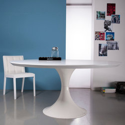 MODLOFT - Salisbury Round Dining Table - Salisbury round dining table features painted tulip shaped base with lacquered top.