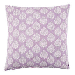 John Robshaw Mali Lavender Pillow - This lavender John Robshaw Mali pillow features a hand-printed paisley pattern.