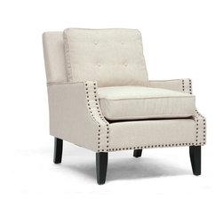 Wholesale Interiors - Norwich Beige Linen Modern Lounge Chair - Beige linen blend upholstery with pillow