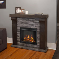 Real Flame Avondale Electric Fireplace - Stately and elegant, the Real Flame Avondale Electric Fireplace adds warmth and beauty to any room. This innovative fireplace features a beautiful mantle in gray ledgestone with a realistic log and flame look. This unit is surprisingly portable. Move it from living room to dining room if you want. It plugs into any wall outlet, requires no contractors for installation, and stays safely cool to the touch.