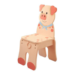 Teamson Design - Fantasy Fields Hand Painted Happy Farm Chair in Pig - Teamson Design - Kids Chairs - TD11324A2P - Squeals of fun and laughter minus the mess brings you Teamsons Farm Pig Chair. Chair is hand crafted and painted to resemble a pig. Your child will love sitting and relaxing on their very own pig chair. Chair is crafted to appear like your child is sitting right on the back of a pig! Made from quality wood and crafted with love this is a treasure that can be passed down for years to come.