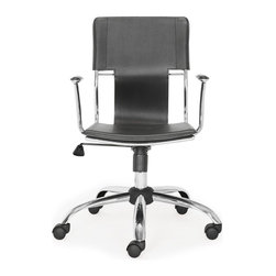 Zuo Modern - Zuo Modern Trafico Modern Office Chair X-181502 - This fun and functional office chair combines a modern and transitional look. The Trafico office chair is made from a solid chrome frame, leatherette sling seat and arm pads, a chrome base, and an adjustable height mechanism.