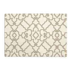 Warm Gray Scroll Trellis Custom Placemat Set - Is your table looking sad and lonely? Give it a boost with at set of Simple Placemats. Customizable in hundreds of fabrics, you're sure to find the perfect set for daily dining or that fancy shindig. We love it in this chic morrocan style trellis with intricate outlined scrolls of warm gray on ivory cotton.